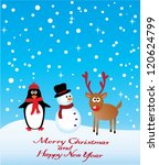 vector reindeer  snowman and... | Shutterstock .eps vector #120624799