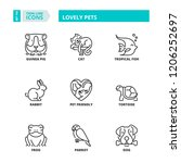 line icons about lovely pets | Shutterstock .eps vector #1206252697