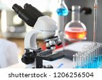 head microscope on the... | Shutterstock . vector #1206256504