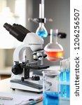 head microscope on the... | Shutterstock . vector #1206256507