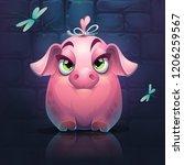 vector cartoon big piggy girl... | Shutterstock .eps vector #1206259567