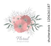 floral composition with... | Shutterstock .eps vector #1206261187