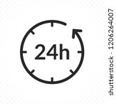 24 hours icon. clock icon with... | Shutterstock .eps vector #1206264007