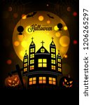 happy halloween template or... | Shutterstock .eps vector #1206265297