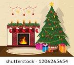 cozy christmas interior.... | Shutterstock .eps vector #1206265654