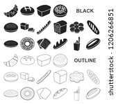 types of bread black icons in... | Shutterstock .eps vector #1206266851
