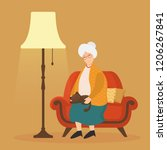 grandmother and cat on cozy... | Shutterstock .eps vector #1206267841