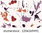 hand drawn set of colorful ink... | Shutterstock .eps vector #1206269491