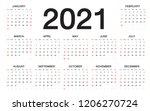 calendar 2021  week starts from ... | Shutterstock .eps vector #1206270724
