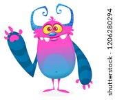 funny cool cartoon monster... | Shutterstock .eps vector #1206280294