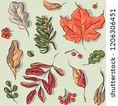 seamless pattern with autumn... | Shutterstock .eps vector #1206306451
