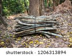 Stack Of Dry Firewood In The...