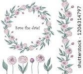 peonies wreath vector | Shutterstock .eps vector #1206314797