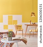 yellow and white wall home... | Shutterstock . vector #1206330151