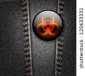 bio hazard badge on black denim ... | Shutterstock .eps vector #120633331