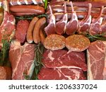 variety of raw meat as a... | Shutterstock . vector #1206337024
