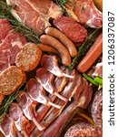 variety of raw meat as a... | Shutterstock . vector #1206337087
