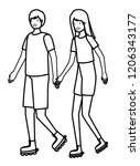 young couple in skates... | Shutterstock .eps vector #1206343177