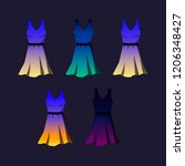 a set of tunic dresses with... | Shutterstock .eps vector #1206348427