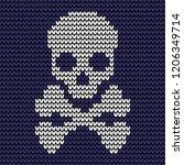 abstract blue seamless knitting ... | Shutterstock .eps vector #1206349714
