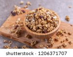 bowl of homemade granola with... | Shutterstock . vector #1206371707