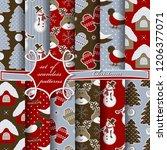 set of seamless christmas... | Shutterstock .eps vector #1206377071