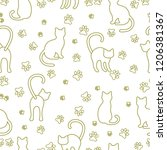 seamless pattern with cats and... | Shutterstock .eps vector #1206381367