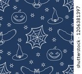 halloween 2019 vector seamless... | Shutterstock .eps vector #1206381397