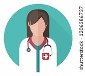 vector medical icon woman... | Shutterstock .eps vector #1206386737