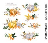 autumn arrangements with orange ... | Shutterstock .eps vector #1206391501