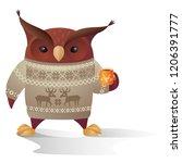vector brown owl character in...   Shutterstock .eps vector #1206391777