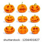 zombie pumpkins  crazy pumpkin... | Shutterstock .eps vector #1206401827