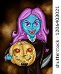 a vampire with a pumpkin  | Shutterstock . vector #1206403021