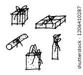 vector hand drawn doodle set of ... | Shutterstock .eps vector #1206410287