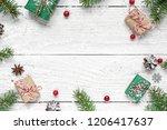 christmas composition. frame...   Shutterstock . vector #1206417637