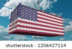 container with flag of the... | Shutterstock . vector #1206427114