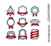 vector set badge  ribbons and... | Shutterstock .eps vector #1206435484