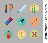 sharp icon set. vector set... | Shutterstock .eps vector #1206436897