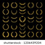 collection of different golden... | Shutterstock .eps vector #1206439204
