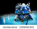 hockey team standing in circle... | Shutterstock . vector #1206461341