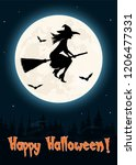 witch flying on a magic broom... | Shutterstock .eps vector #1206477331