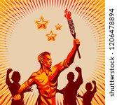 men raising fist holding... | Shutterstock .eps vector #1206478894