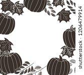 pumkin branch leaves natural... | Shutterstock .eps vector #1206479914