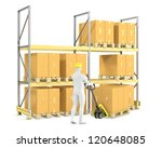worker moves boxes with pallet...   Shutterstock . vector #120648085