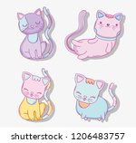 set cute cats domestic animals | Shutterstock .eps vector #1206483757