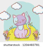 cat animal with clouds and... | Shutterstock .eps vector #1206483781