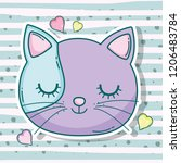 cat head pet animal with hearts | Shutterstock .eps vector #1206483784