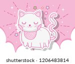 cute cat animal in the clouds... | Shutterstock .eps vector #1206483814