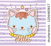 cute cat head with hair and... | Shutterstock .eps vector #1206483817