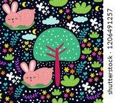 cute animal seamless pattern   Shutterstock .eps vector #1206491257